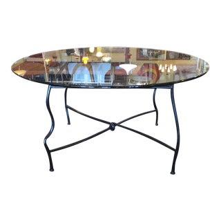 Unique Bronze Base Dining Table With Glass Top