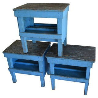 Industrial Factory Work Tables - Set of 3