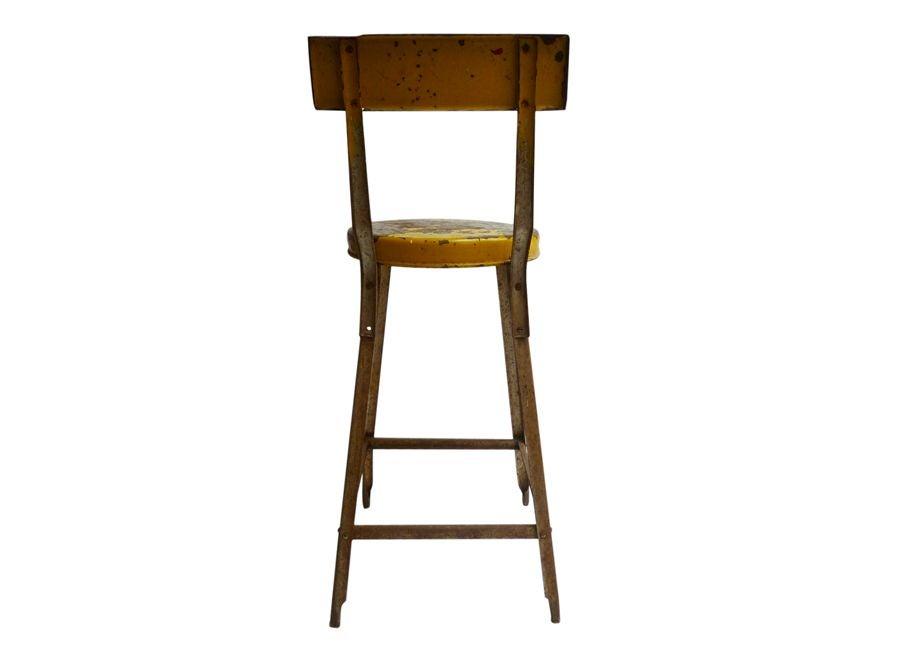 Vintage Yellow Industrial Stool Chairish