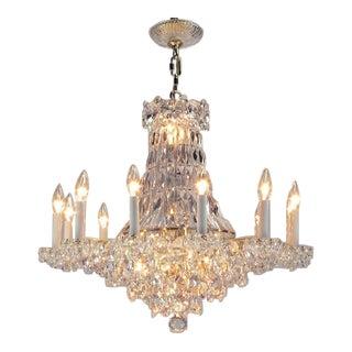 Art Deco Revival Brass, Crystal & Mirror Twelve-Arm Chandelier