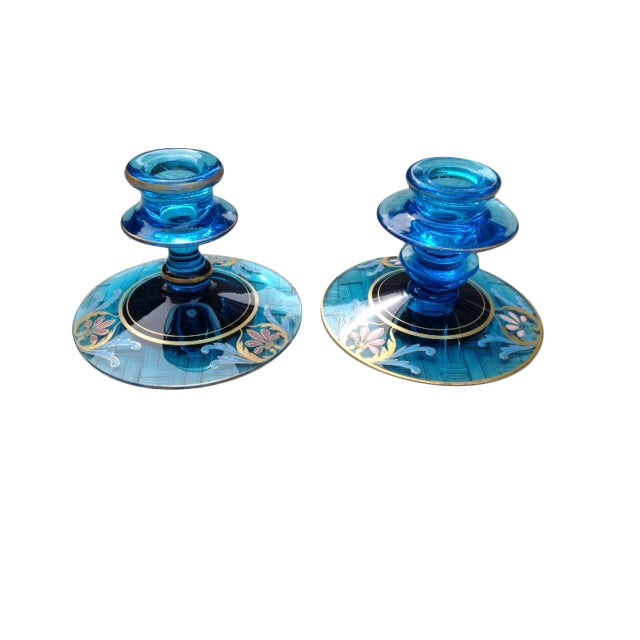 Vintage Glass Candleholders - a Pair - Image 1 of 5