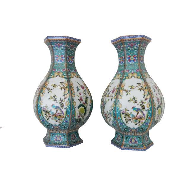 Famille Blue Floral Porcelain Vases - A Pair - Image 2 of 7