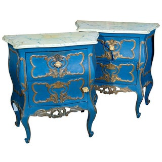 French Rococo Style Painted Bombe Commodes - A Pair