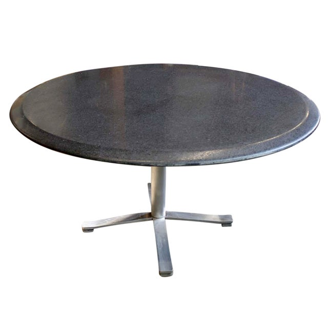 Zographos Beveled Marble Top Table With Steel Base - Image 1 of 6