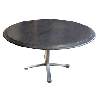 Zographos Beveled Marble Top Table With Steel Base