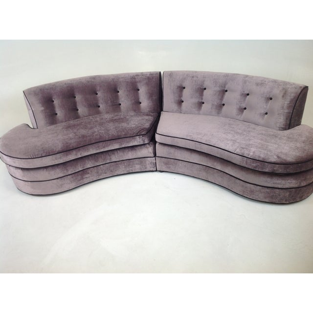 Mid-Century Regency Style Purple Velvet Sectional - Image 3 of 6