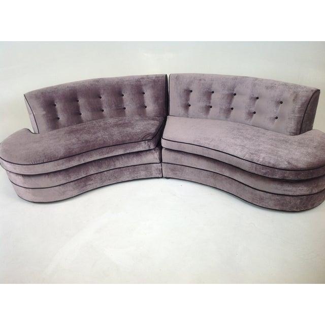 Image of Mid-Century Regency Style Purple Velvet Sectional