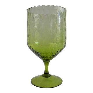 Italian Green Optic Glass Goblet