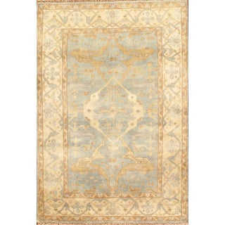Tan & Blue Oushak Rug - 4' X 6'