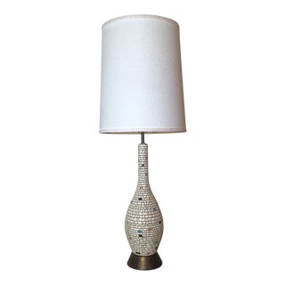 Mid-Century Ceramic Mosaic & Brass Table Lamp