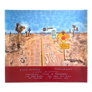 "David Hockney Original Lithograph Print Exhibition Poster "" Pearl Blossom Hwy "" 1986"