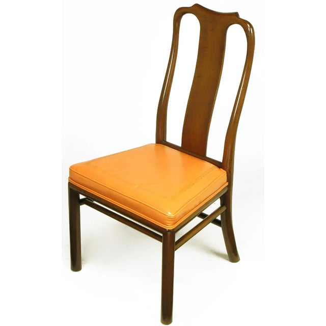 Six Walnut and Tooled Leather Splat-Back Dining Chairs - Image 4 of 10