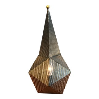 Sculptural Perforated Metal Geometric Lamp