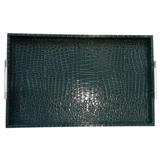 Large Teal Croc Embossed Serving Tray