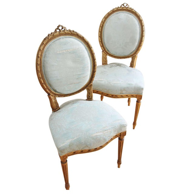 Vintage Louis XVI Style Giltwood Chairs - a Pair - Image 1 of 7