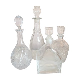 Glass and Crystal Decanters-Set of 4