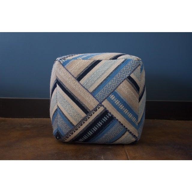Geometric Blue Wool Cube Ottoman - Image 2 of 4