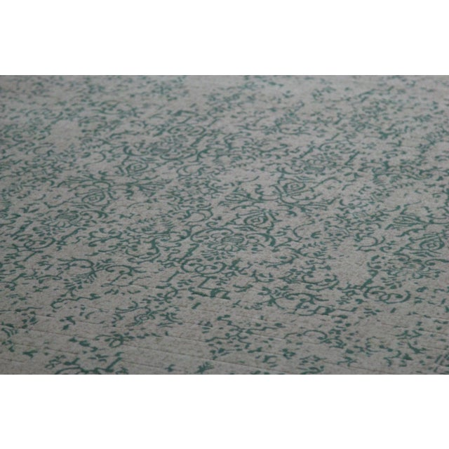 "Teal Distressed Patterned Rug - 8'x10'7"" - Image 3 of 7"