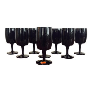 Mid Century Black Amethyst Glasses by Gorham Reizart - Set of 8