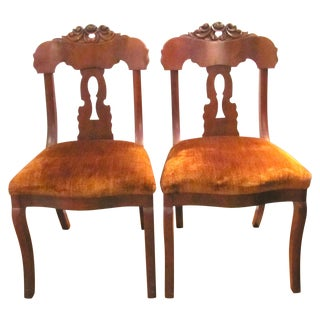Antique Burled Walnut Empire Side Chairs - Pair