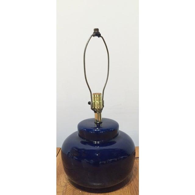Mid Century Cobalt Blue Ceramic Lamp - Image 5 of 8