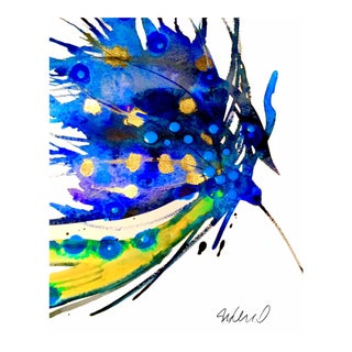 Premium giclee print of Botanical blue peacock