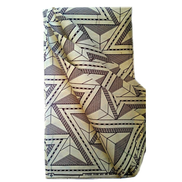 Image of Cream Brown Abstract African Print Fabric -4 Yards