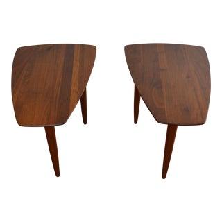 Prelude Walnut Triangular Tables - A Pair