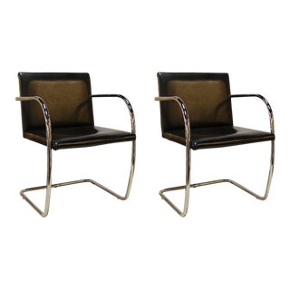 Black Leather and Chrome Brno Chairs by Mies van der Rohe - a Pair