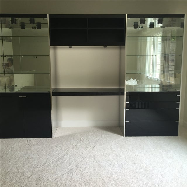 Ello Black Glass Curio Cabinet Desk - Image 3 of 11