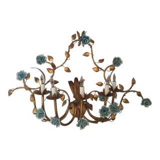 Antique Italian Electrified Floral Metal Wall Sconce