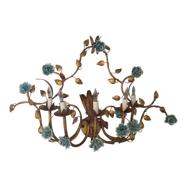 Floral Metal Wall Sconces : Antique Italian Electrified Floral Metal Wall Sconce Chairish