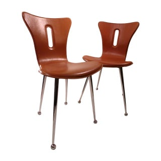 Arne Jacobsen Butterscotch Leather Chairs - A Pair