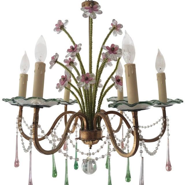 Pink & Green Murano Glass Chandelier | Chairish
