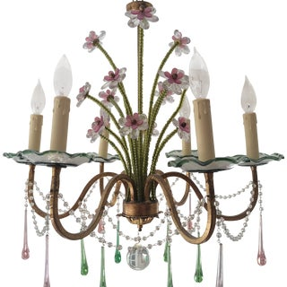 Pink & Green Murano Glass Chandelier