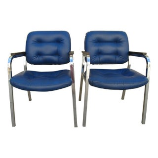 1970s Chrome Faux Leather Chairs - A Pair