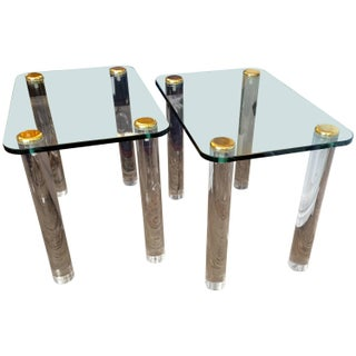 Mid-Century Side Tables With Lucite Legs - Pair