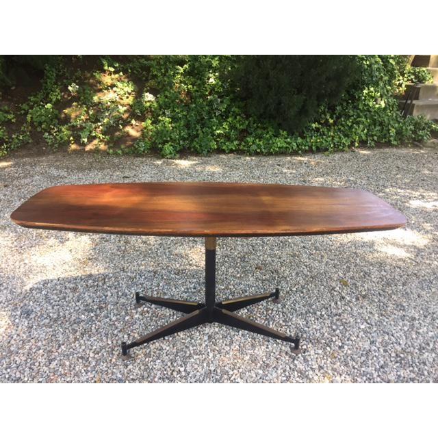 Vintage Mid-Century Modern Steel Based Walnut Coffee Table - Image 2 of 9