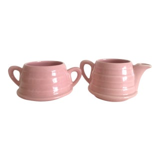 Mid-Century Modern Art Deco Pink English Ceramic Cream & Sugar Set - A Pair