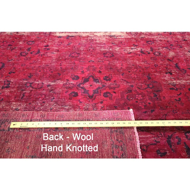 """Pink Overdyed Floral Area Rug - 9'7"""" x 12'2"""" - Image 10 of 10"""