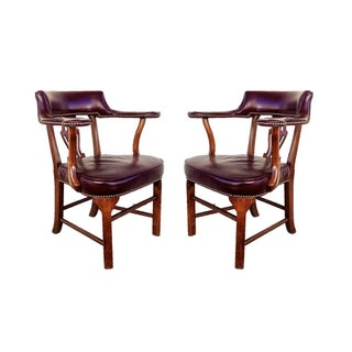 Kimball Blackberry Leather Chairs - A Pair