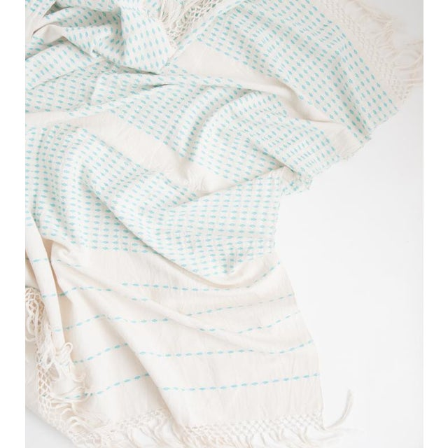 Cyan Blue Handwoven Mexican Throw - Image 3 of 3