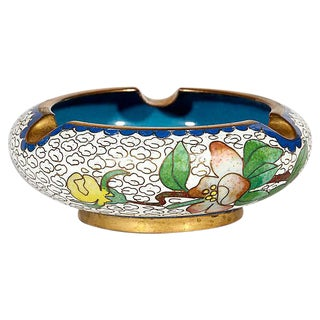Floral Enanmeled Cloisonne Ashtray