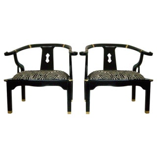 Ming Black Lacquer Arm Chairs - A Pair