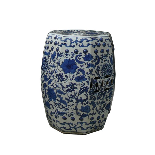 Blue And White Porcelain Flower Stool Table - Image 4 of 5