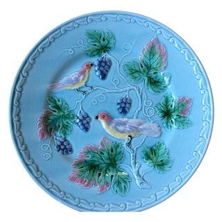 Blue German Birds & Grape Motif Majolica Plate