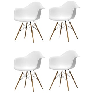 White Dining Chairs With Wood Eiffel Legs - Set of 4