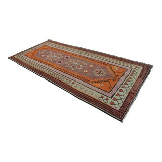 Turkish Handmade Kilim Runner Rug - 5′3″ × 11′5″