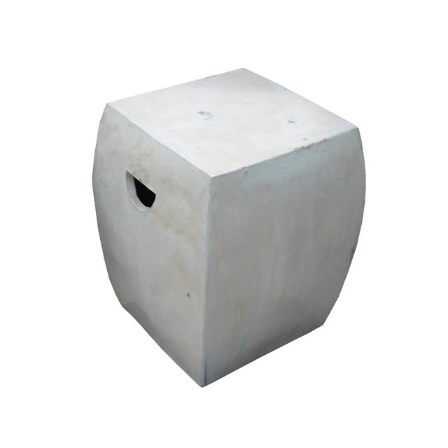Chinese Off White Square Clay Ceramic Garden Stool - Image 4 of 7