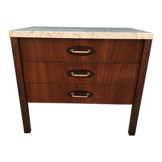 Architectural Walnut Rosewood Travertine Table